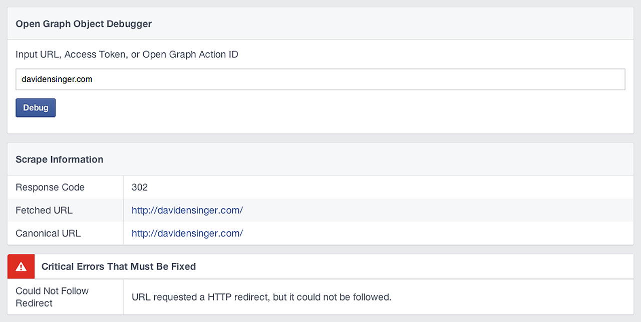 Initial Facebook Debugger results for davidensinger.com