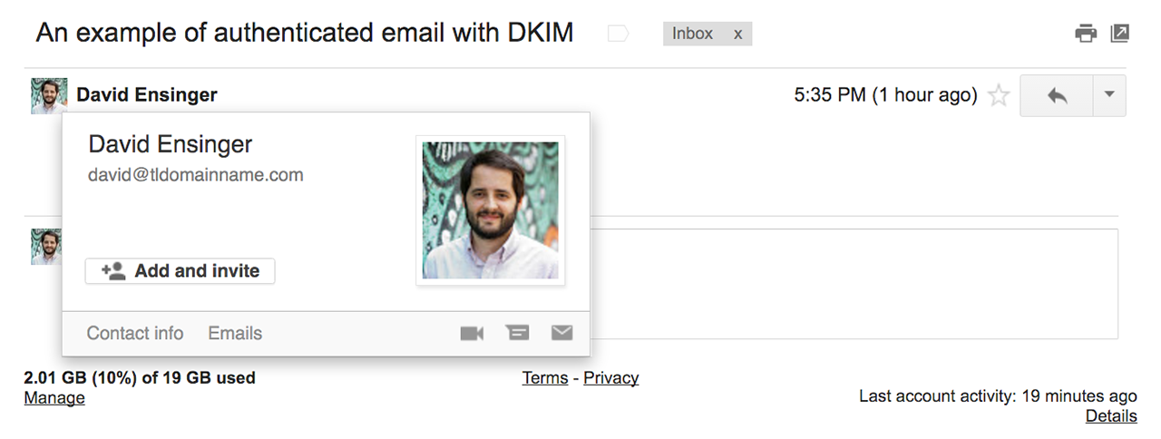 An authenticated email with DKIM